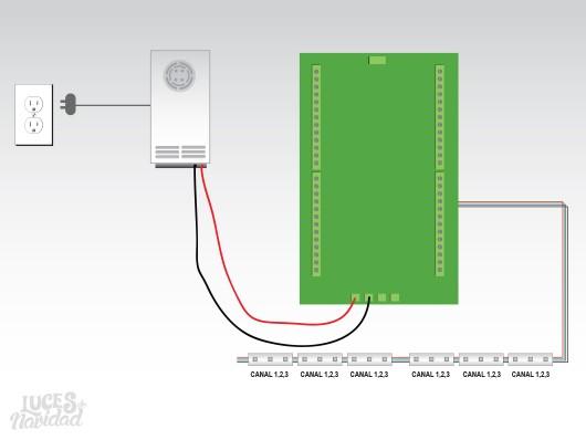 Diagrama de Conexión Tira de Leds Simples o Mudas